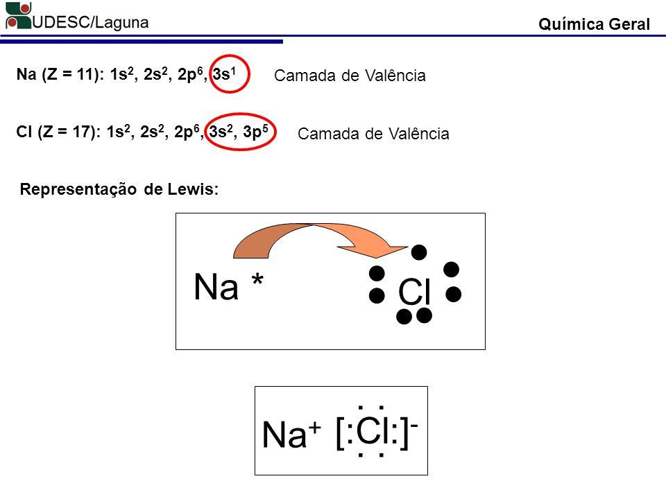 ● Na * Cl ● [:Cl:]- Na+ . . Química Geral